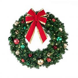 Commercial Pre-Lit Decorated Wreaths