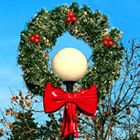 "4' Wreath Lamp Cover with two 18"" Red Imperial Bows, LED"