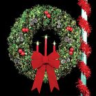 "5' Traditional Tri-Candle Royal Pine Wreath with two 24"" Red Imperial Bows"