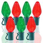 "26 Light Red & Green C7 LED Christmas Lights - 8"" Spacing"