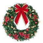 """48"""" Decorated Wreath, Elegant Poinsettia, Lit"""