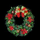 """48"""" Decorated Wreath, Lime Green and Red Poinsettia, Lit"""