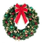 "48"" Decorated Wreath, Traditional Décor, Lit"
