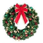 "48"" Decorated Wreath, Traditional Décor, Unlit"