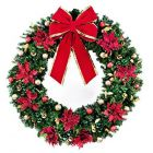 "60"" Decorated Wreath, Elegant Poinsettia, Unlit"