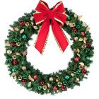 "60"" Unlit Wreath Decorated Traditional Decor"