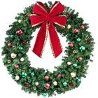 "72"" Decorated Wreath, Colors of the Holidays, Unlit"