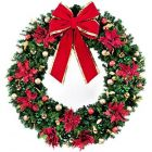 "72"" Unlit Wreath Decorated Elegant Poinsettia"