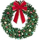 "72"" Decorated Wreath, Colors of the Holidays, Lit"