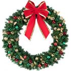 "72"" Decorated Wreath, Traditional Décor, Unlit"