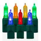 "50 Light T5 Multi LED Christmas Lights - 6"" Spacing"
