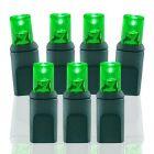 "50 Light Green 5 mm Wide Angle Conical LED Christmas Lights - 4"" Spacing"