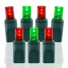 70 Light Red/Green Twinkle 5mm Wide Angle Conical LED Christmas Lights