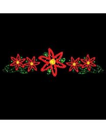 6' x 22' Five Poinsettias, LED