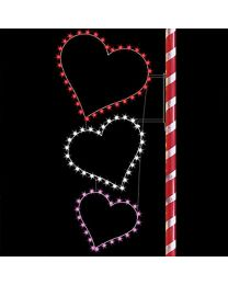 8' Silhouette Triple Hearts, LED