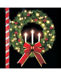 4' Oregonian Tri-Candle Wreath, LED