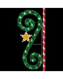 8' Garland Classic Scroll with Star, LED