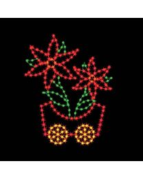 7' Silhouette Poinsettia Car, LED