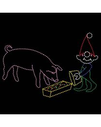 13' x 19' Elf Feeding Pig, LED