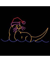 8' x 15' Sea Otter with Santa Hat, LED