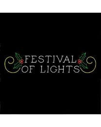 12' x 58' Festival of Lights Sign with Holly and Scrolls, LED