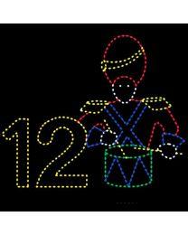 Animated 11' x 13' Twelve Drummers Drumming, LED