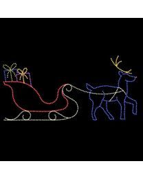 14' x 30' Sleigh and Reindeer, LED