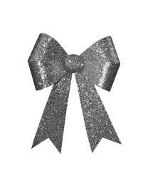 "12"" x 16"" Silver 4 Loop Glitter Bow"