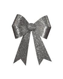 "18"" x 22"" Silver 4 Loop Glitter Bow"