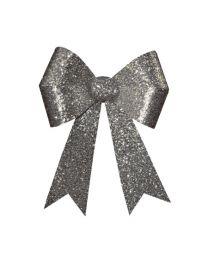 "24"" x 28"" Silver 4 Loop Glitter Bow"