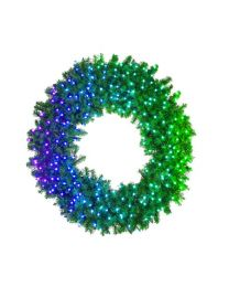 "48"" Deluxe Oregon Fir Wreath, Lit with Twinkly Pro RGBW"