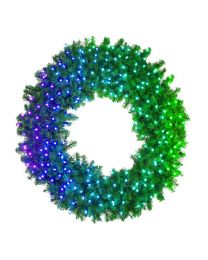 "60"" Deluxe Oregon Fir Wreath, Lit with Twinkly Pro RGBW"