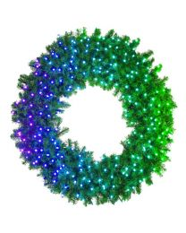 "72"" Deluxe Oregon Fir Wreath, Lit with Twinkly Pro RGBW"