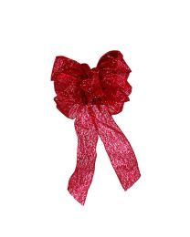 "Traditional Bow, 6 Loops, Center Loop, and 2-12"" Tails, in 2.5"" Ribbon - Red Glittered Sheer"