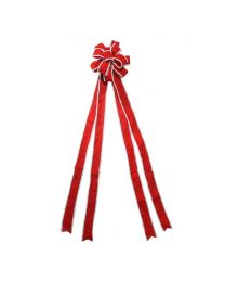 "11"" Red with White Edge Tree Topper Bow"