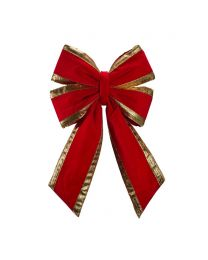 "12"" Red Velvet with Gold Trim Christmas Bow"