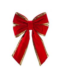 "18"" Red Velvet with Gold Trim Christmas Bow"