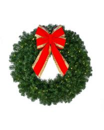 "36"" Deluxe Oregon Fir Wreath, Lit"