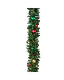 "Decorated 9' x 14"" Garland Unlit, Colors of the Holiday"