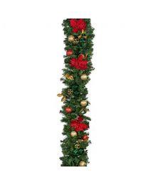"""Decorated 9' x 14"""" Garland Unlit, Elegant Poinsettia"""