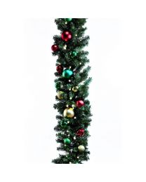 "Decorated 9' x 14"" Garland Lit, Colors of the Holiday"