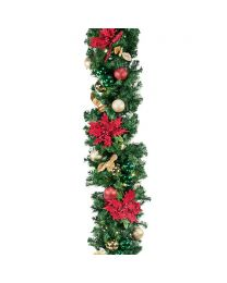 "Decorated 9' x 14"" Garland Lit, Elegant Poinsettia"