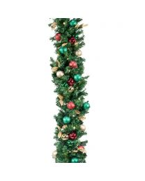 "Decorated 9' x 14"" Garland Lit, Traditional"