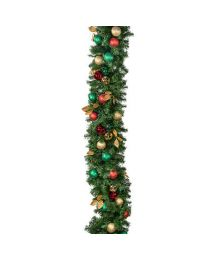 "Decorated 9' x 14"" Garland Unlit, Traditional"