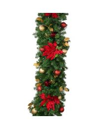 "Decorated 9' x 18"" Garland Unlit, Elegant Poinsettia"