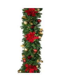 "Decorated 9' x 18"" Garland Lit, Elegant Poinsettia"