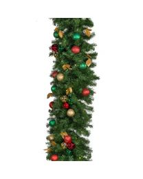 "Decorated 9' x 18"" Garland Lit, Traditional"