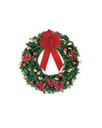 "24"" Decorated Wreath, Elegant Poinsettia, Unlit"