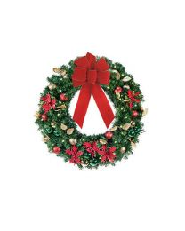 "24"" Decorated Wreath, Elegant Poinsettia, Lit"