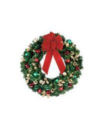 "24"" Decorated Wreath, Traditional Decor, Lit"